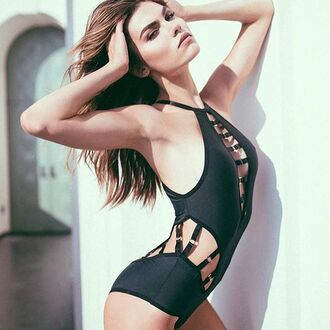 underwear lingerie black body bodysuit bra black lingerie sexy fashion outfit clothes swimwear cute strappy wolf style black panties top