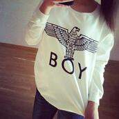 sweater,white,boy,eagle,cool,warm,big,cozy,wood,boy london,black sweater,purple and blue,top,black and white sweater,t-shirt