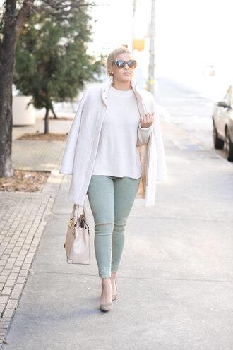 fashionably lo blogger sweater coat jeans shoes bag sunglasses winter outfits handbag pumps nude bag