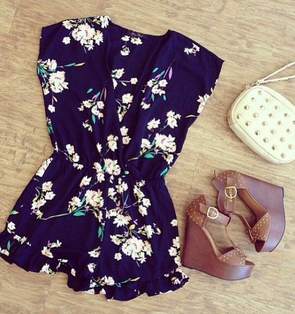 dress romper floral floral romper blue shoes bag shorts blouse romper summer dress summer teenagers boho bohemian vintage pinterest polyvore clothes flowers flowy sandals brown high heels cute romantic navy jumpsuit floral jumpsuit floral dress vintage flower prom dress blue romper
