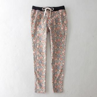 pants floral printed pants roses