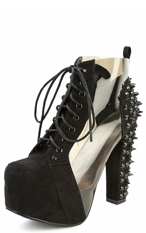 15 black transparent spike ankle boots and shop boots at makemechic.com