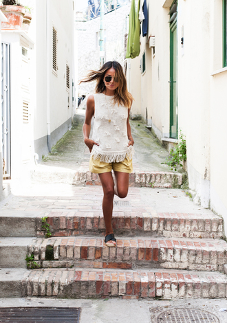 sincerely jules blogger shoes tank top shorts bag