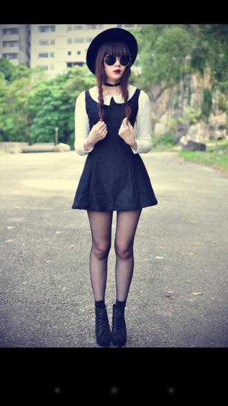 black and white grunge cute dress hat