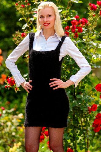 dress supertanya hand made knit black mohair angora alpaca cashmere wool soft fluffy