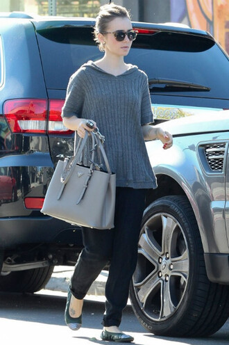 sweater flats lily collins ballet flats streetstyle shoes
