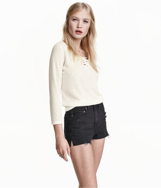 sweater lace up lace up jumper beige sweater