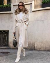 sunglasses,white boots,ots,shoulder bag,white pants,coat,long coat,white blouse