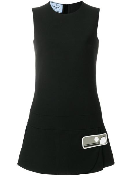Prada dress shift dress mini women black silk wool