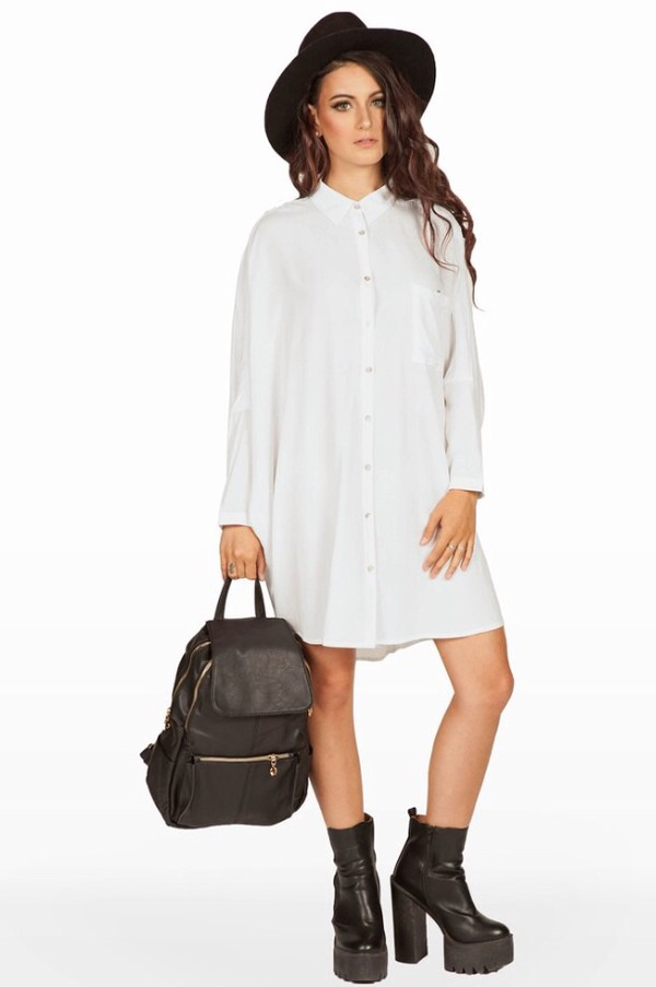 White Oversized Button Up Dress