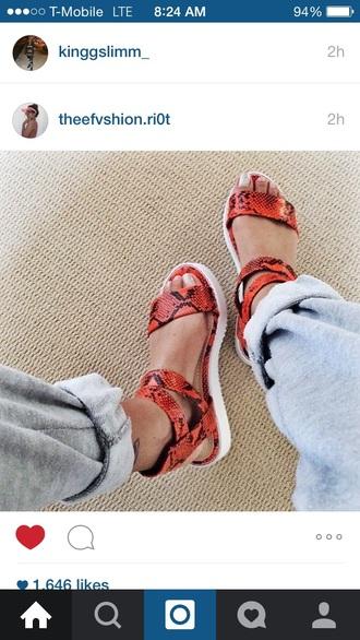 shoes sandals platform shoes orange snake print snake skin