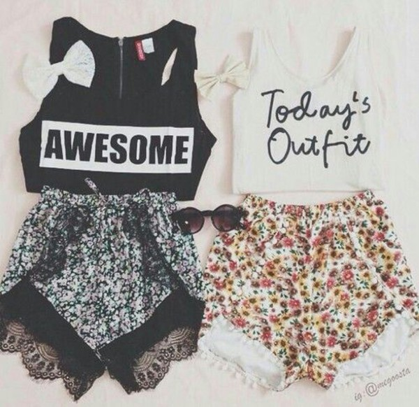 crop tops shorts blouse black and white flowered shorts tank top