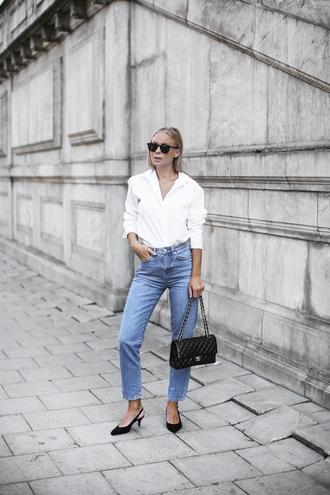 shirt sunglasses tumblr white shirt denim jeans blue jeans shoes slingbacks bag black bag
