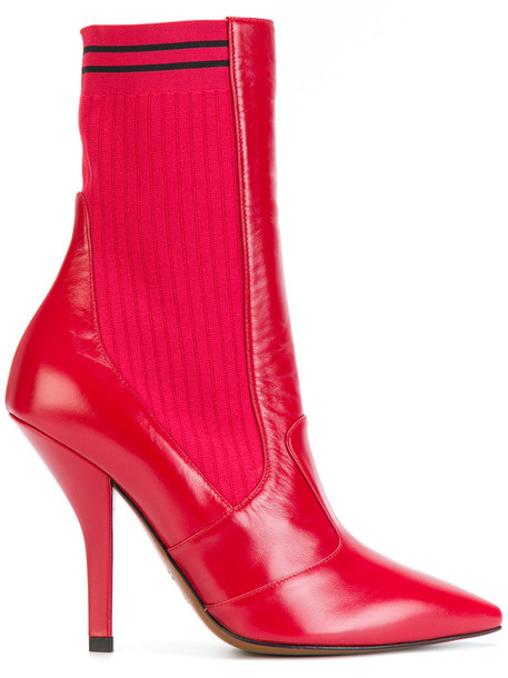 Fendi women spandex ankle boots leather red shoes