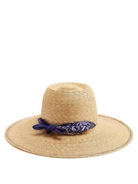 Lola Hats hat straw hat print navy