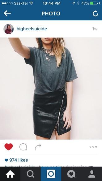 skirt black leather zip punk