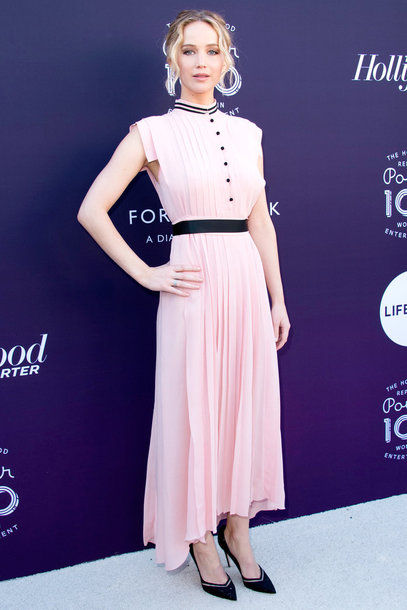 dress pink dress pink jennifer lawrence midi dress pumps