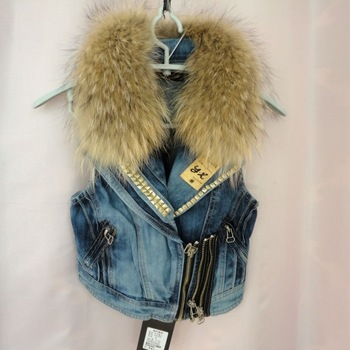 Free shipping 2013 Fashion jean vest for women Natural raccoon fur collar denim vest fur vest waistcoat gilet Wholesale-in Vests & Waistcoats from Apparel & Accessories on Aliexpress.com