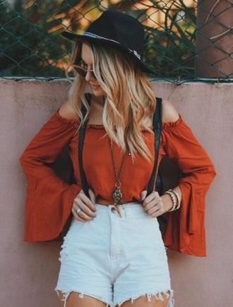 blouse shorts blue shorts high waisted shorts denim shorts coral off the shoulder top orange top bell sleeves bardot top bell sleeve top shirt top orange off the shoulder