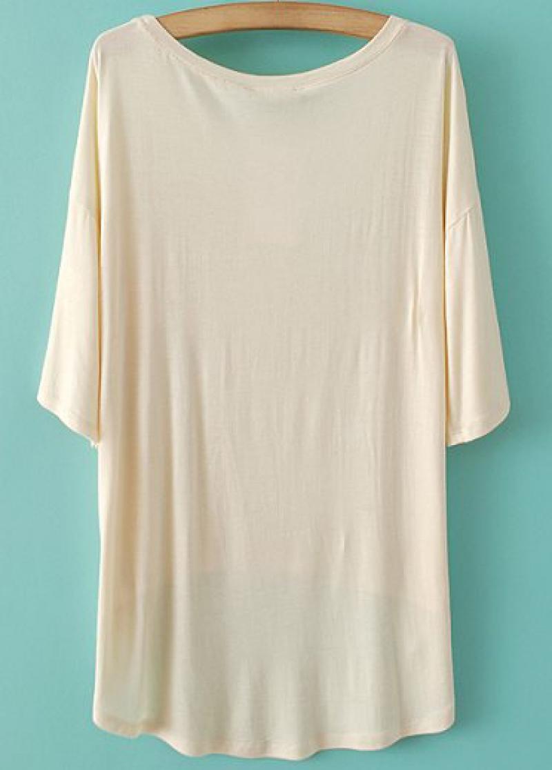 Beige Batwing Sleeve Horse Print Dipped Hem T-Shirt