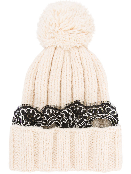 rock beanie lace white black hat