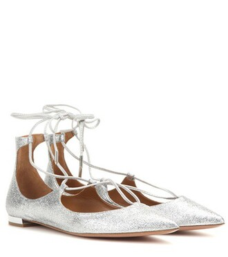 leather silver shoes
