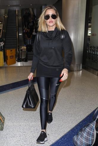 leggings all black everything sneakers hoodie khloe kardashian