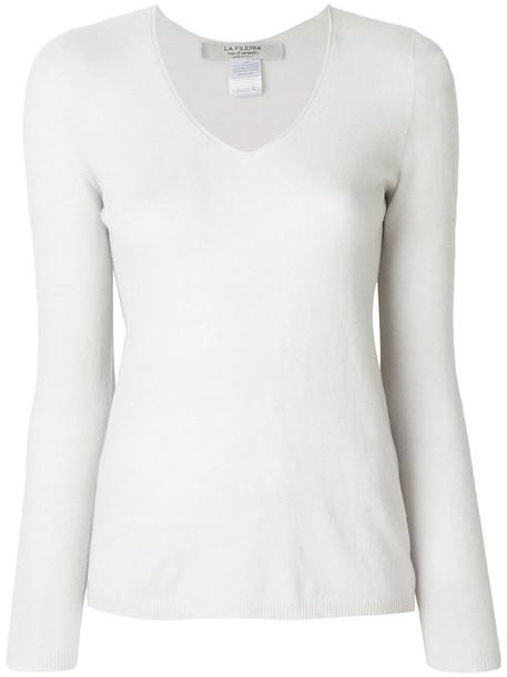 La Fileria For D'aniello - v-neck jumper - women - Cashmere - 42, Grey, Cashmere
