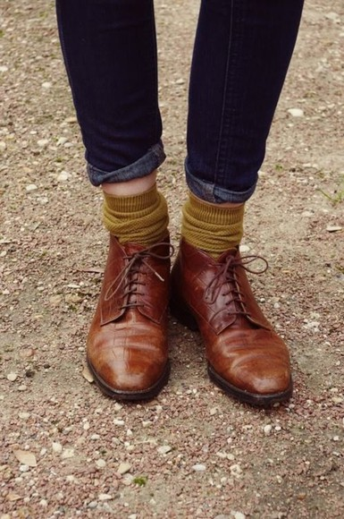 shoes derbies leather socks lemongrass fall outfits