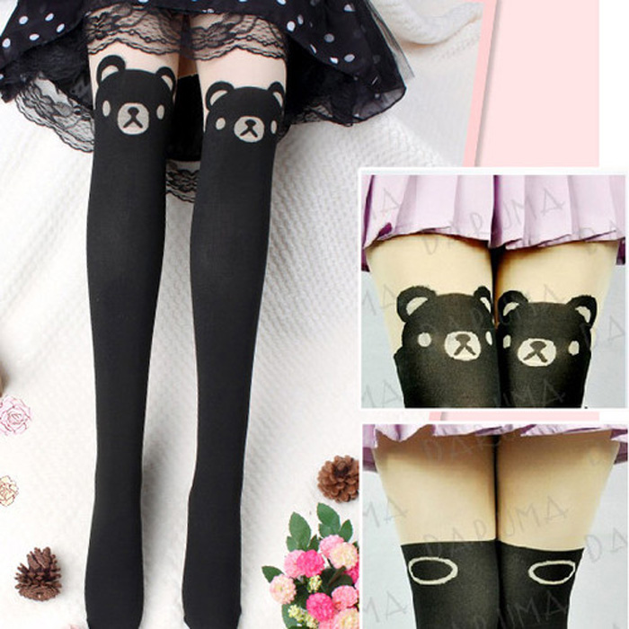 Lady Sexy Pantyhose Cute Black Bear Over Knee Tights Thigh Leggings Stockings | eBay