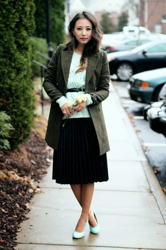 different cands blogger shoes skirt pleated skirt belt mint knitted sweater coat sweater