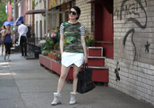 cheetah is the new black,t-shirt,skirt,shoes,bag,sunglasses,jewels,camouflage,streetwear