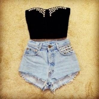 shirt top crop crop tops studded shorts
