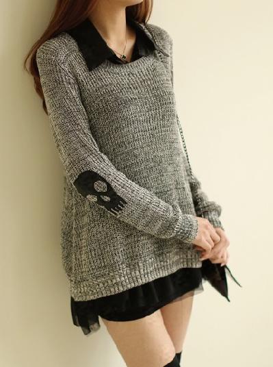 Punk Pullover Skull Sweater