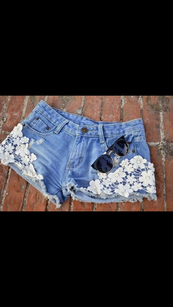 shorts high waisted denim flowers cute lace sunglasses