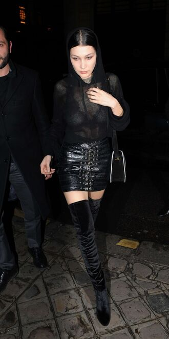 skirt mini skirt bella hadid model off-duty streetstyle see through blouse underwear boots all black everything paris paris fashion week 2016 fashion week 2016 leather skirt leather