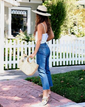 jeans blue jeans top tumblr cropped jeans camisole white top shoes slide shoes bag woven bag hat sun hat