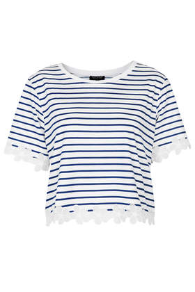 Striped Daisy Organza Tee - Topshop