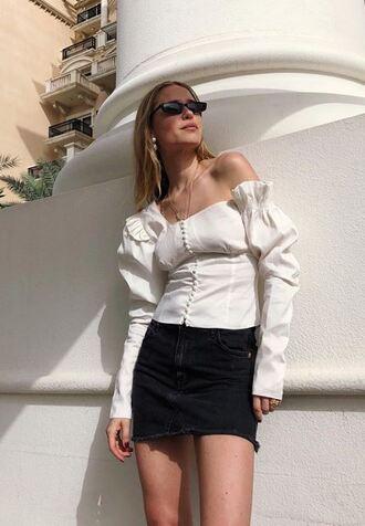blouse top skirt mini skirt pernille teisbaek blogger instagram spring outfits