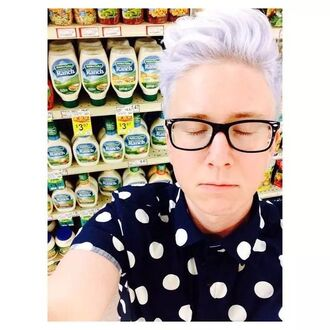 shirt tyler oakley polka dot shirt polka dots menswear mens shirt
