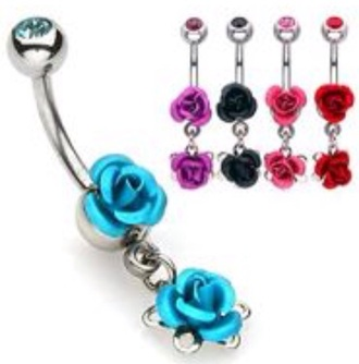 jewels two flowers belly button ring