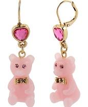 jewels,earrings,teddy bear,pink,kawaii,cute,pretty