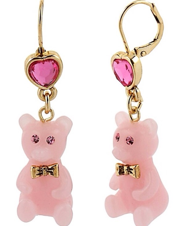 jewels earrings teddy bear pink jewels kawaii cute pretty