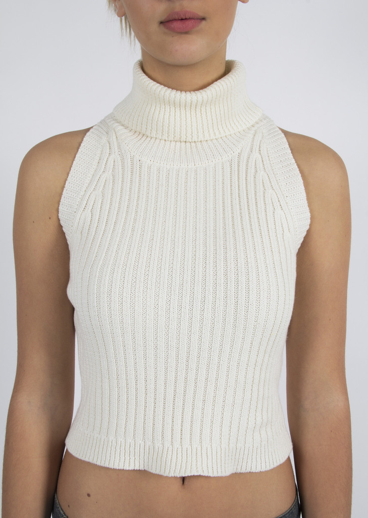 & Friends - Off White North Star Crop Top Turtleneck Sweater – www ...