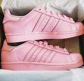 shoes,adidas superstars pastel  pink,pink,adidas superstars,all pink adidas,adidas shoes
