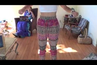 pants colorful tribal pattern harem pants