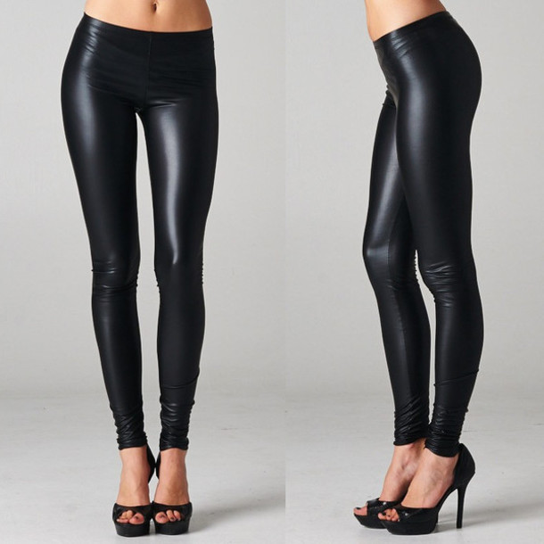 Pants: bottoms, leggings, city, nights, black, faux, leather ...