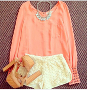 shorts,t-shirt,chic,clothes,girl,lovely,amazing,colorful,chanel inspired,summer,blouse,shoes,babe,peach blouse,bliss,coral blouse,white shorts,lace shorts,lacey shorts,wedges,statement necklace