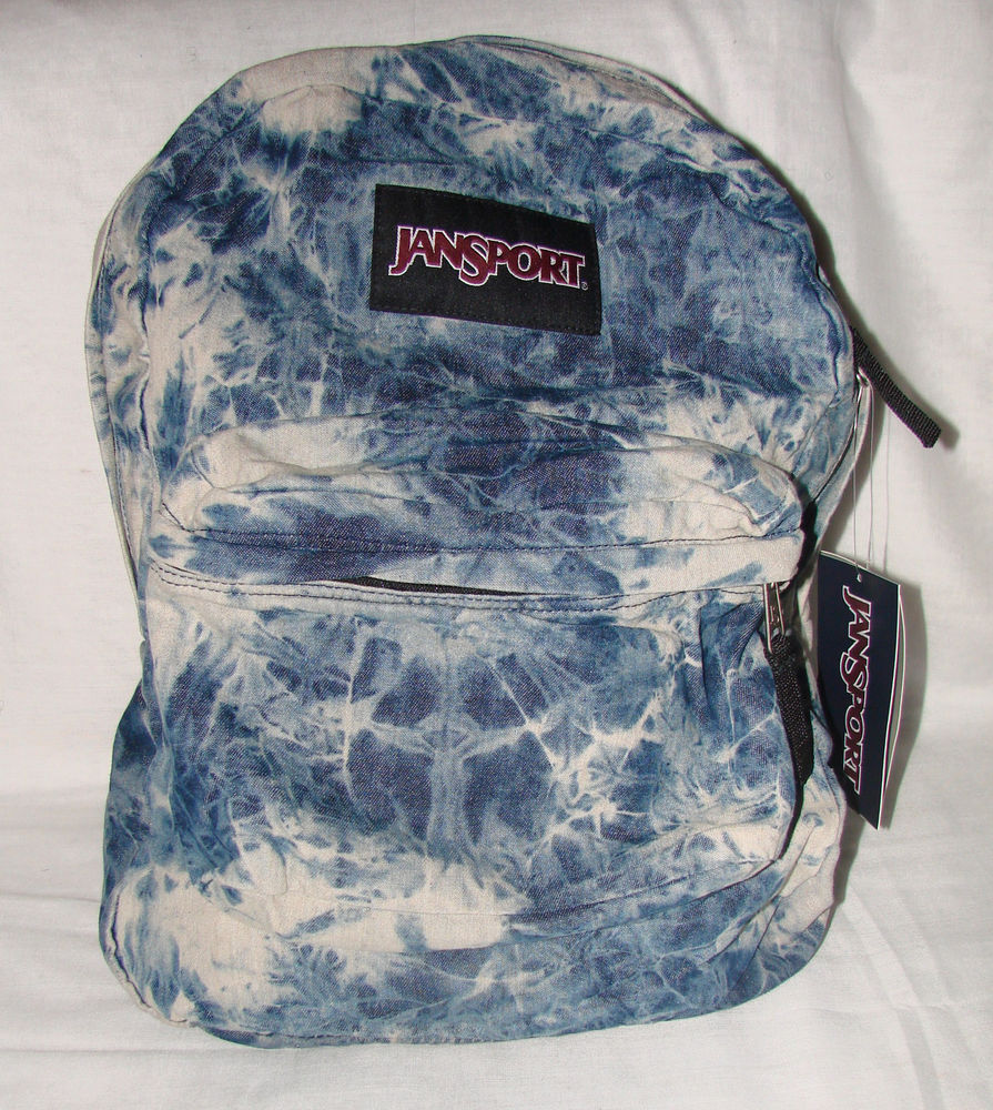Jansport Backpack Denim Daze Acid Wash Jean Blue Gray Distressed Student | eBay