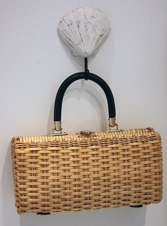 bag wicker yellow bag